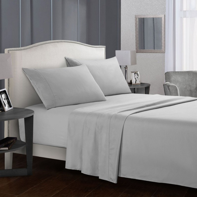 Solid Color Bed Sheet Sets Flat, King Fitted Sheet On Queen Bed