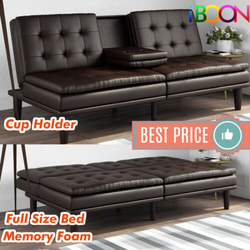 Memory Foam Faux Leather Futon Sofa, Brown Fabric Leather Sofa Bed