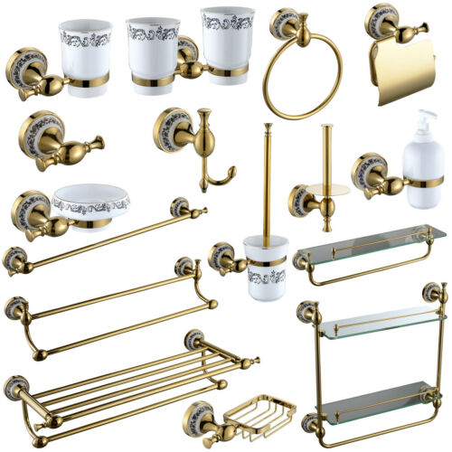 Gold Brass Bathroom Accessories, Bathroom Accessories Towel Racks