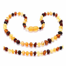 Raw Unpolished Baroque Baltic Amber Necklace Child 12.5 Inches Dark Cherry Color Meraki Amber Necklace Fussiness and More All Natural Pain Relief and Helps with Drool