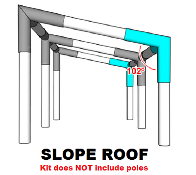 Buy Slope Roof Lean To Canopy Fittings Kits 10x10 20 30 40 50 Diy Greenhouse Rv Boat Carport Shelter Shade Structure Vendor Booth Tent Steel Frame Emt Connector Parts 1 Online In Taiwan 894040141