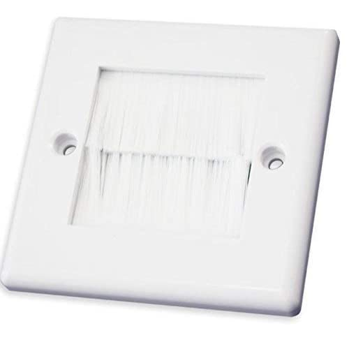 Single Gang White Brushplate Wall Cable// Lead Entry// Exit with White Faceplate