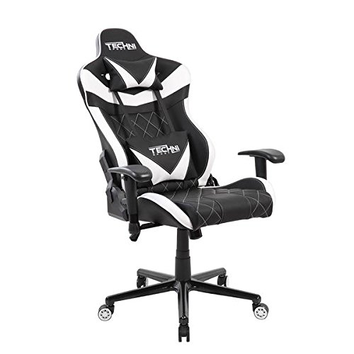 Office Chair Lumbar Support Leather Gaming Chair Ergonomic /& Adjustable Back Support Recliner Chair Gaming Computer Chair TECHNI SPORT Gaming Chair Collection TS83, Grey /& White