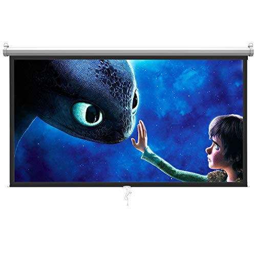 "16:9 Manual Projection Screen Pull Down HD Movie Projector 100/"" Auto Lock"