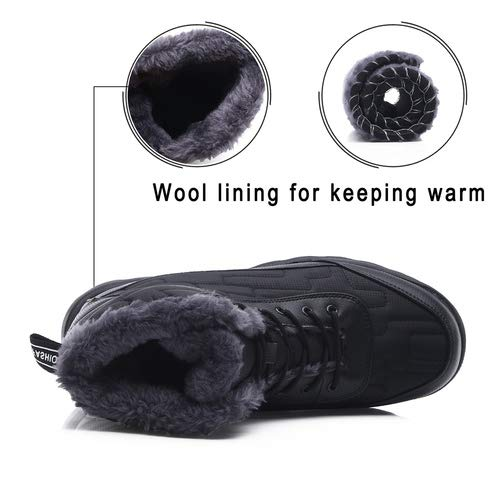 aeepd Winter Snow Boots Slip on Ankle Bootie Men Women Water-Resistant Anti-Slip Fur Lined Shoes