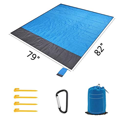 Sand Free Compact Outdoor Beach Picnic Blanket Huge For Festivals Hiking Nylon
