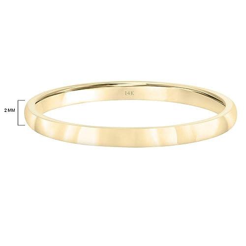 DECADENCE 10K or 14K Yellow /& White Gold 3mm Polished Flat Comfort Feel Plain Wedding Band