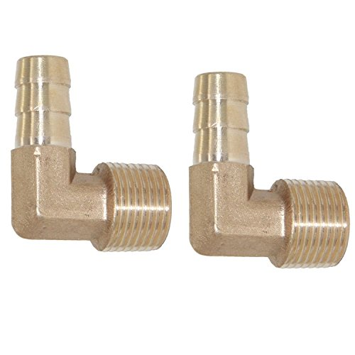 Joyway 5Pcs 1//4 6mm Hose ID//Hose Barb 90 Degree L Right Angle Elbow Union Brass Fitting Water//Fuel//Air