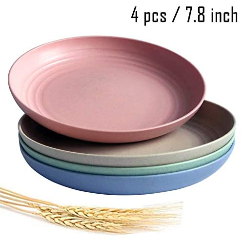 Adult Children Toddler 8.8 Extra Large Wheat Straw Plates Eco-Friendly Degradable Dishes for Kids 4 PCS Lightweight Unbreakable Dinner Plates with Dishwasher Microwave Safe
