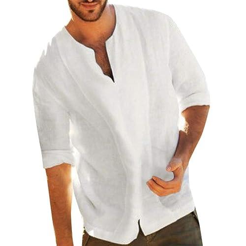 Men/'s Baggy V-neck T Shirt Linen Tee Hippy Shirts Short Sleeve Yoga Tops Blouse