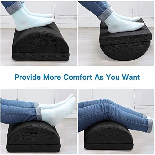 Home Under Desk Footrest with 2 Optional Covers for Desk Travel Adjustable Foot Rest Ergonomic Foot Rest Cushion with Magic Tape and Massaging Micro Beads for Office Plane by HUANUO Airplane
