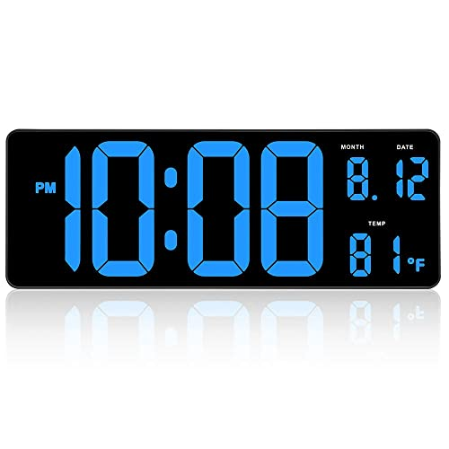 Date and Fold-Out AcuRite 75127 Oversized LED Clock with Indoor Temperature