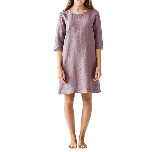 Plain Round Neck Mini Dress,PAOLIAN Women Sleeveless Peplum Swing Hem T-Shirt Loose Casual Boho Beach Holiday Dresses