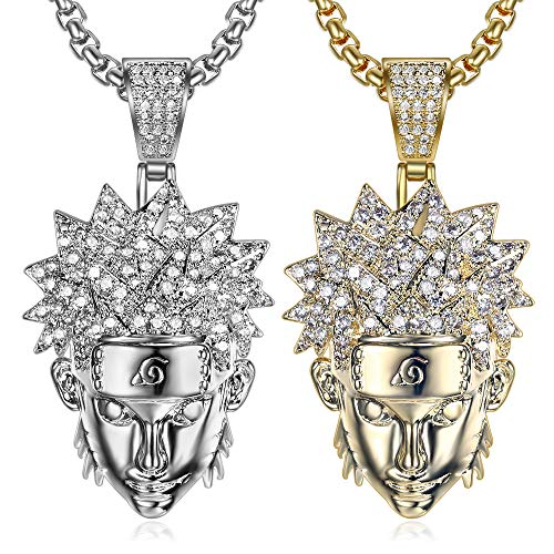 Moca Jewelry Iced Out V-Shaped Pendant 18K Gold Plated Chain Bling CZ Simulated Diamond Hip Hop Necklace for Men Women