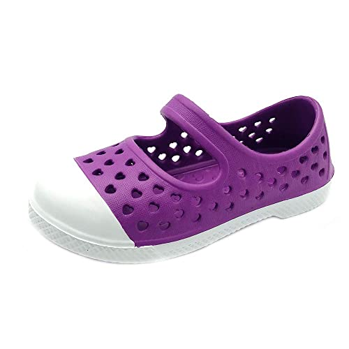 EVA Upper Material and Odor Resistant Footbed with Arch Support PEBBLES SHOES Toddler and Girls Waterproof Maryjane with Strap Flexible and Lightweight Synthetic Shoe