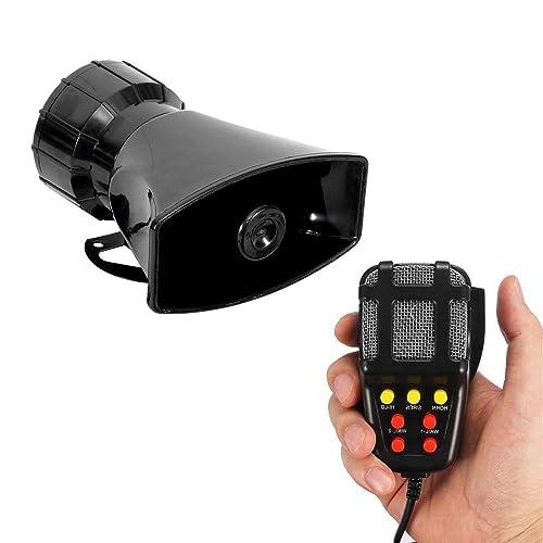 Zento Deals 80W Car Siren Horn With Mic PA Speaker System Emergency Sound Amplifier 5 tones Car Siren Horn