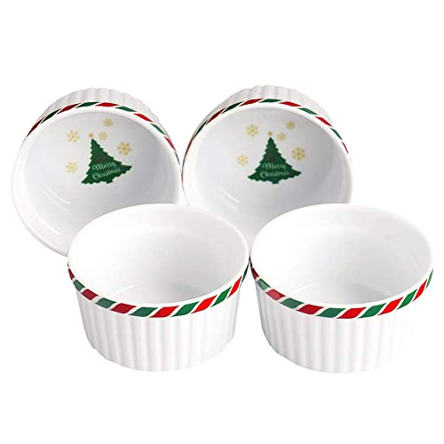 Pudding Bowls Dishes Cup for Baking- Set of 4,Souffl/é Cups Dishes Cinf Porcelain Ramekin White 10 oz Creme Brulee Desserts,Oven,Microwave,Freezer and Dishwasher Safe Custard Cups