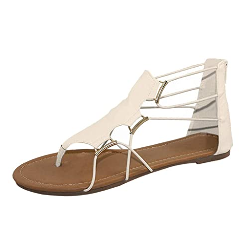 Womens Flip Flop Flats Sandals with Ankle Strap Summer Comfort Beach Sandals Gladiator Shoes
