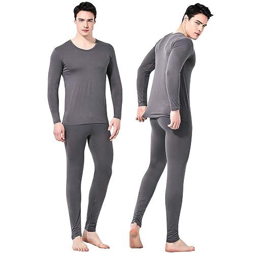 AJAYR Mens Thermal Underwear Set Thin Ultra Soft Pajamas Base Layer Long John