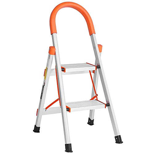 4 Step Ladder Portable with Handgrip Anti-Slip Sturdy Max Load 330lbs Aluminum Lightweight Stepladder with Wide Pedal Perfect for Household Home Kitchen Office