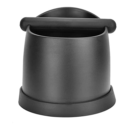 Fdit 2-Color Plastic Coffee Machine Knock Box Residue Bucket Grind Waste Bin With Rubber Bar Removable Easy Cleaning Safe Dishwasher Black