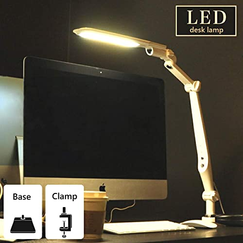 10W,Intelligent Memory Function Eye Care Multi Angle Rotation,3 Color Modes Adjusting Stepless Dimming High Brightness LED Sources 2 in 1 LED Desk Lamp and Clamp Table lamp