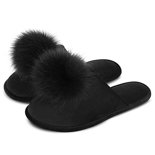 Black Women Faux Fur Suede Indoor Slippers With Bowknot Memory Foam Rubber Sole
