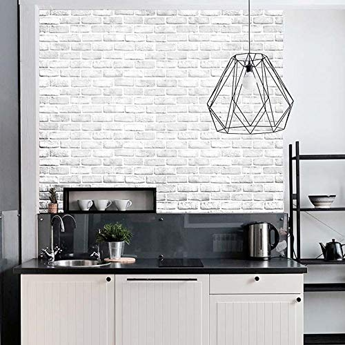 """Faux Brick Wallpaper H2MTOOL Removable Self Adhesive White Grey Contact Paper for Home Decor 17.7/"""" x 78.7/"""", White Grey"""