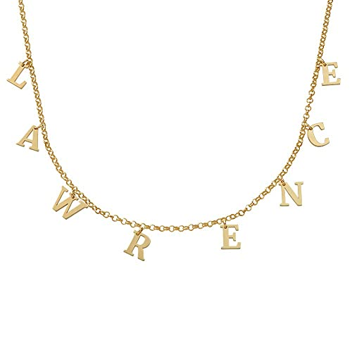 Personalised Choker Necklace Name Alphabet Initial Gold Silver Plated Pendant