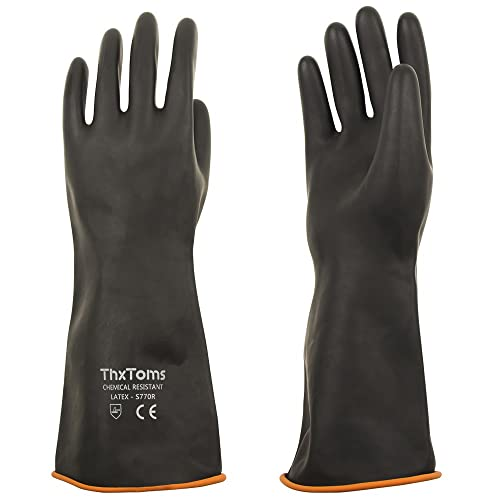 Alkali and Oil 1 Pair 22 Resist Strong Acid 22 Black Heavy Duty Gloves Latex Chemical Gloves Resistant Rubber PPE Industrial Safety Work Protective Long Gauntlets Gloves
