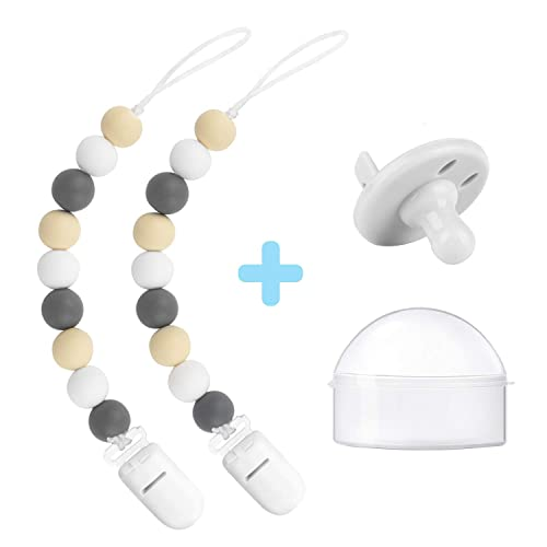 Silicone pacifier and teether clips set of 2