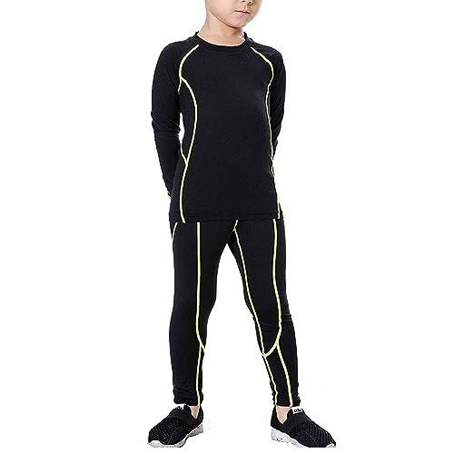 LANBAOSI 2 Packs Boys /& Girls Long Sleeve Compression Shirts and Pants Set