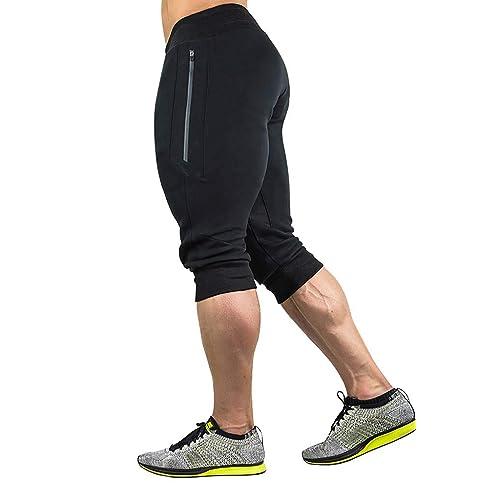 Fensajomon Mens Running Basic Athletic Drawstring Elastic Waist Gym Shorts