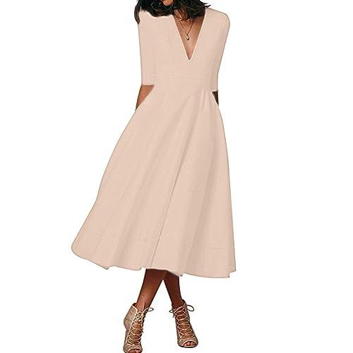 YMING Women Audrey Elegant Floral Print Dress Short Sleeve Dress with V-Neck Party Cocktail Prom Knee Length Dress