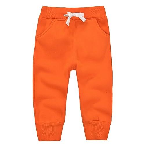HZYBABY Infant Baby Girl Boy Winter Warm High Waist Sweatpants Toddler Cotton Active Elastic Pants Fleece Lined Leggings