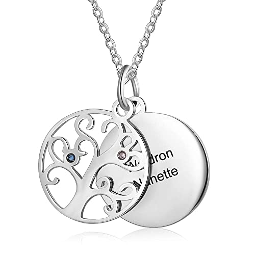 Personalized Family Tree Love Pendant Necklace Birthstones Custom Made Any Name