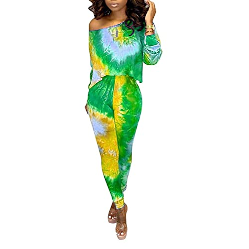 Ophestin Womens Casual 2 Piece Outfits Tie Dye Print Long Sleeve Top Pants Set