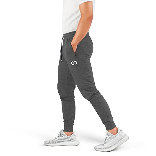 BOOMLEMON Mens Running Fitness Pants Gym Exercise Jogger Performance Sweatpants with Zippered Pockets