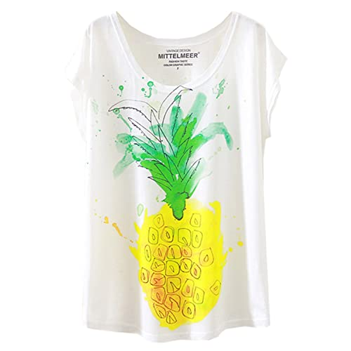 Hellopopgo Pineapple Printed Funny T Shirt Womens Summer Tops Fruits Lover Short Sleeve Graphic Tees Tops Girl