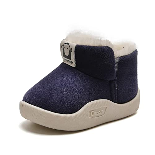 Goldweather Kids Baby Boys Girls Snow Boots Winter Warm Plush Cartoon Sequins Slip-On Martin Boots