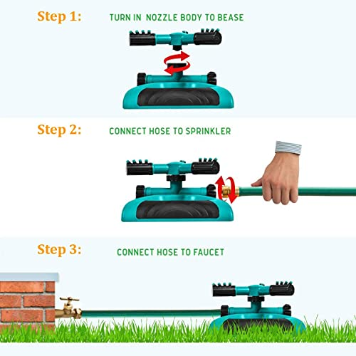 Heavy Duty Waters up to 3,000 sq Heavy Base ft Lawn and Yard 2-Way Adjustable Spray for Watering Garden Brizer Oscillating Sprinkler