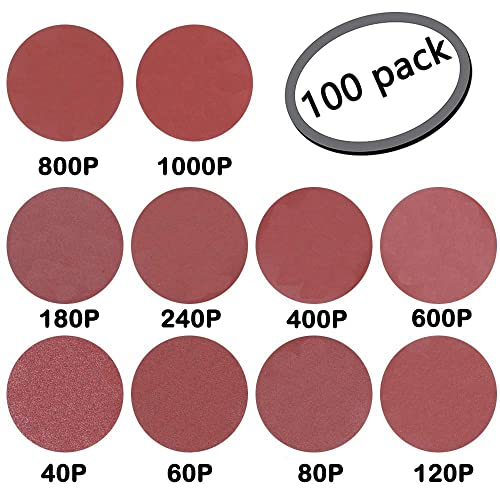"6/"" Inch 6 Hole 40 Grit Gold Peel and Stick Adhesive PSA Sanding Discs 50 Pack"