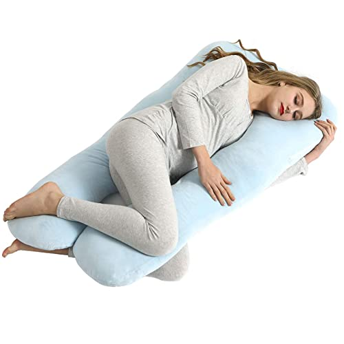 QUEEN ROSE Contoured U Shaped Pillow,Pregnancy Body Pillow with Cooling Jersey Cover,Navy Blue