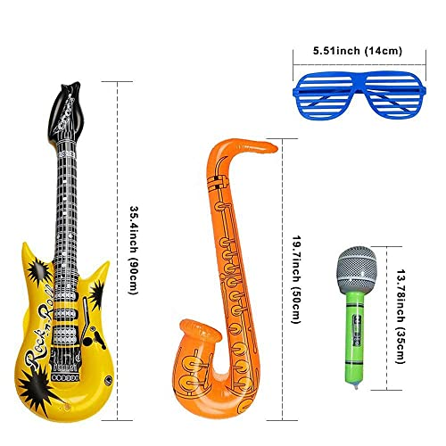6 INFLATABLE MICROPHONES Party Favor Rock Free Shipping 12 INFLATABLE GUITARS