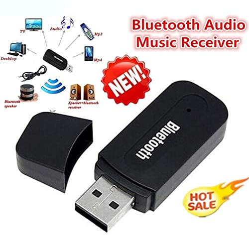 USB Bluetooth Receiver Music Audio W// 3.5mm AUX to USB Adapter For Car Speaker