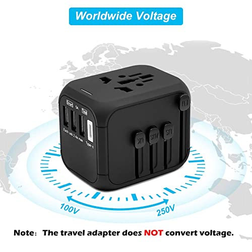 All-in-One Worldwide International Power Adapter with Auto-Reset Fuse AU and 170 Countries Black UK 1 Type C Europe Upgraded 5A USB Output 3 USB Ports for USA Whew Universal Travel Adapter