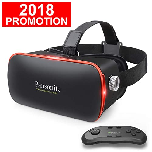 Pansonite 3D VR Glasses Virtual Reality Headset for Games /& 3D Movies Upgraded /& Lightweight with Adjustable Pupil and Object Distance for iOS and Android Smartphone