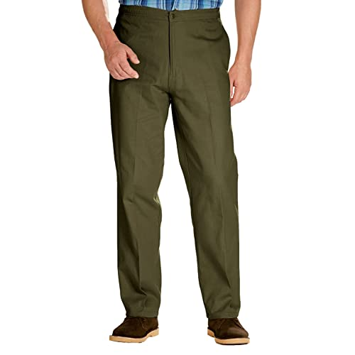 Tansozer Mens Elasticated Waist Chino Trousers Regular Fit with Drawcord
