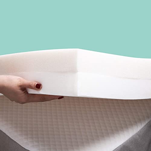 3-Inch Memory Foam Bed Topper CertiPUR-USA Certified with Removable Zipper