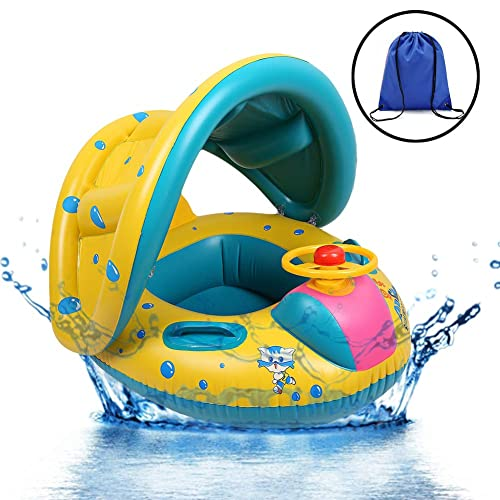 PINK BABY INFLATABLE POOL FLOAT WITH DETACHABLE SUNSHADE UV CAREFUL CARE SEAT 31.5 X 33.5 INCHES H20 GO!!